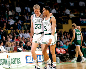 Boston Celtics Hall of Fame Inductee Dennis Johnson with Larry Bird photo