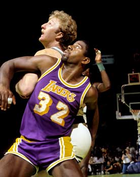 Larry Bird and Magic Johnson photographs