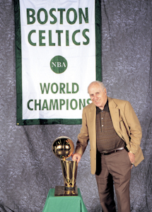 Boston Celtics Red Auerbach with NBA Championship Trophy and Banner