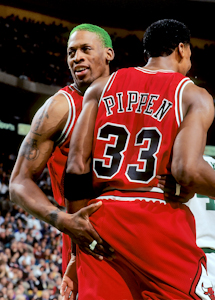 Chicago Bulls Scottie Pippen with Dennis Rodman