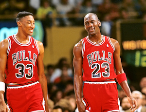 Chicago Bulls Scottie Pippen with Michael Jordan